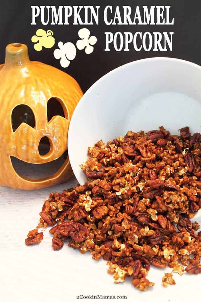 Pumpkin Caramel Popcorn | 2 Cookin Mamas The perfect popcorn for fall! Easy to make Pumpkin Caramel Popcorn is flavored with pumpkin puree, maple syrup and caramel. Great for a snack and sure to be a hit when movie night rolls around. #popcorn #snack #pumpkin #maple syrup #caramel #recipe #flavoredpopcorn #fallrecipe #fall