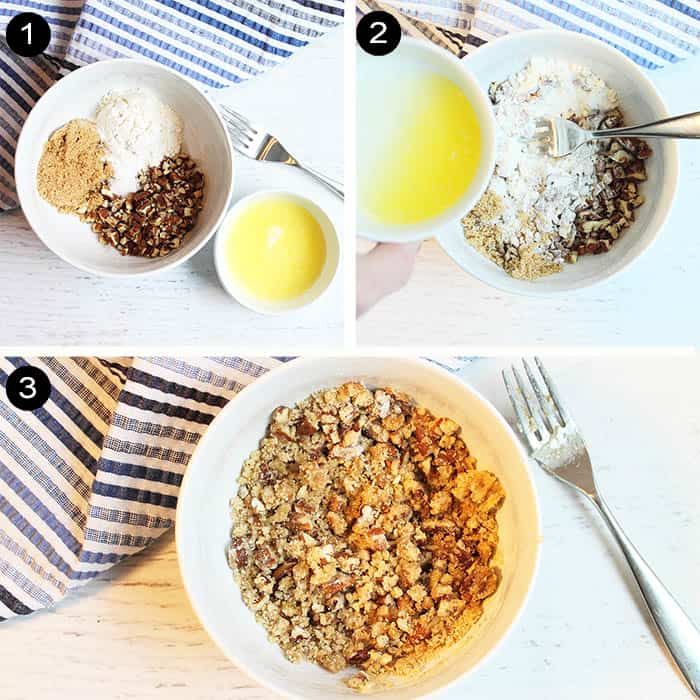 Steps to make streusel topping.