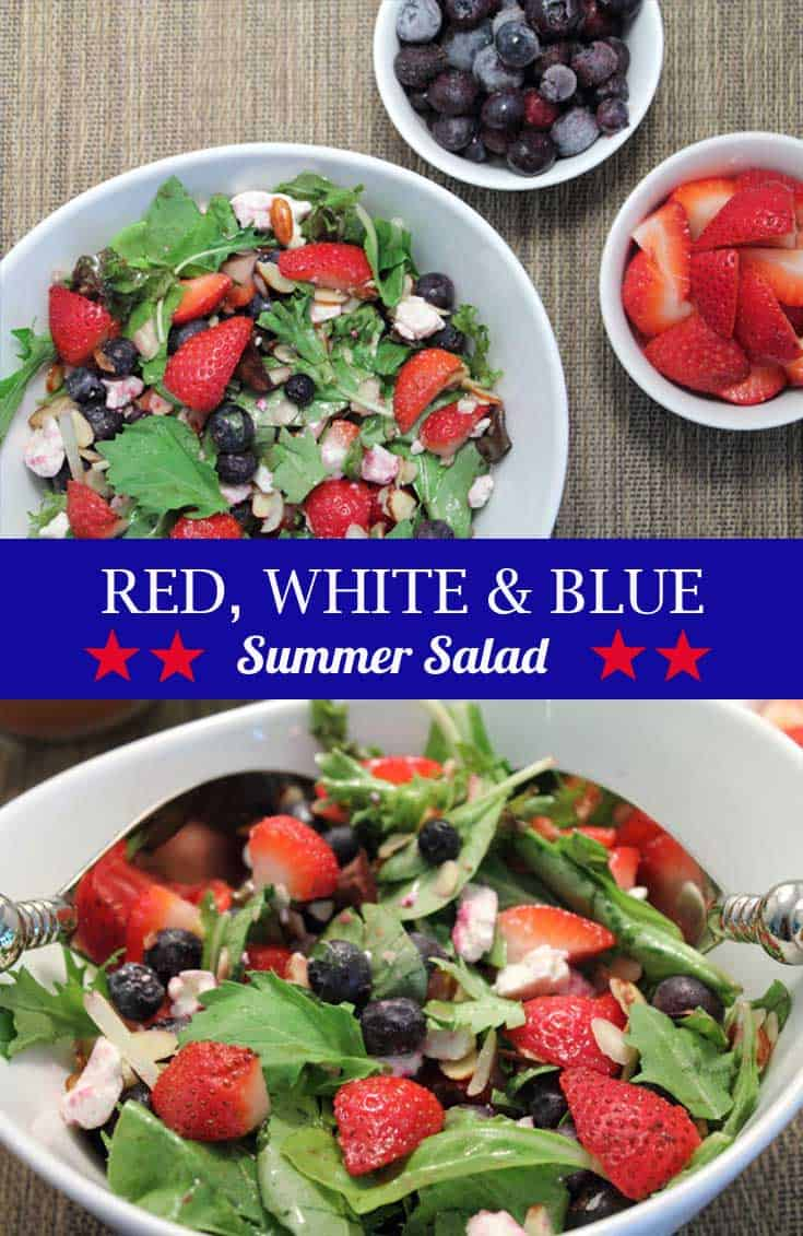 A refreshing summer salad that's easy to toss together. Blueberries, strawberries & feta cheese give this healthy side its name - red, white and blue salad.
