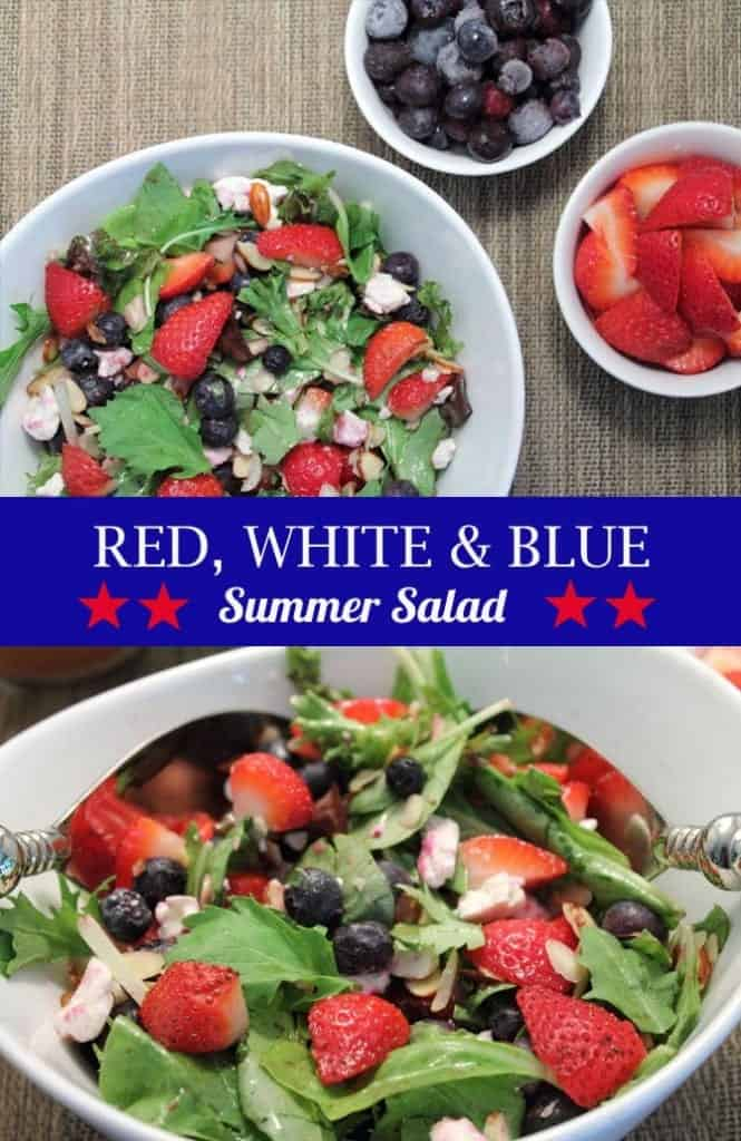 Red White and Blue Salad pin | 2CookinMamas A refreshing summer salad that's easy to toss together. Blueberries, strawberries & feta cheese give this healthy side its name - red, white and blue salad. Add chicken and you've got a light, no-fuss dinner on the table in less than 30!