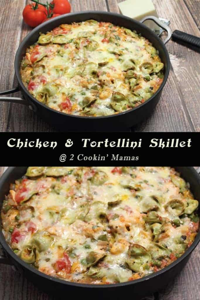 Chicken and Tortellini Skillet | 2CookinMamas - A quick & easy one skillet healthy meal for those busy weeknights.