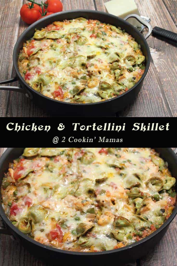 A quick & easy dinner, this Chicken and Tortellini Skillet is a one dish meal that is healthy and satisfying. Chicken, pasta & cheese is sure to please.