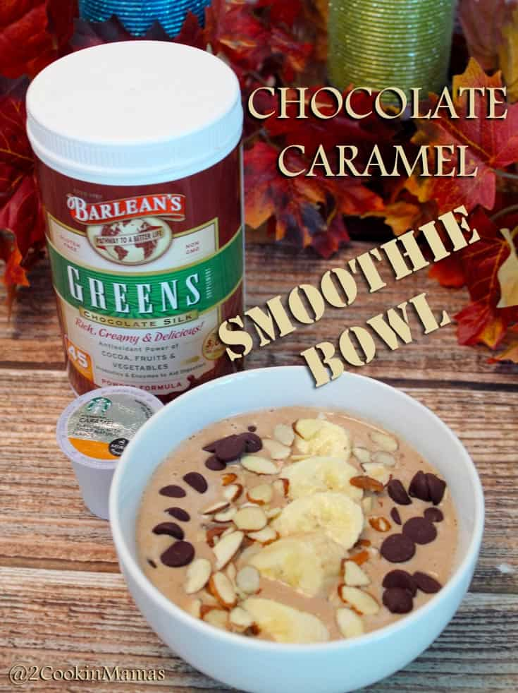 Chocolate Caramel Smoothie | 2CookinMamas - A healthy smoothie to start your morning! Plenty of greens, protein and fiber.