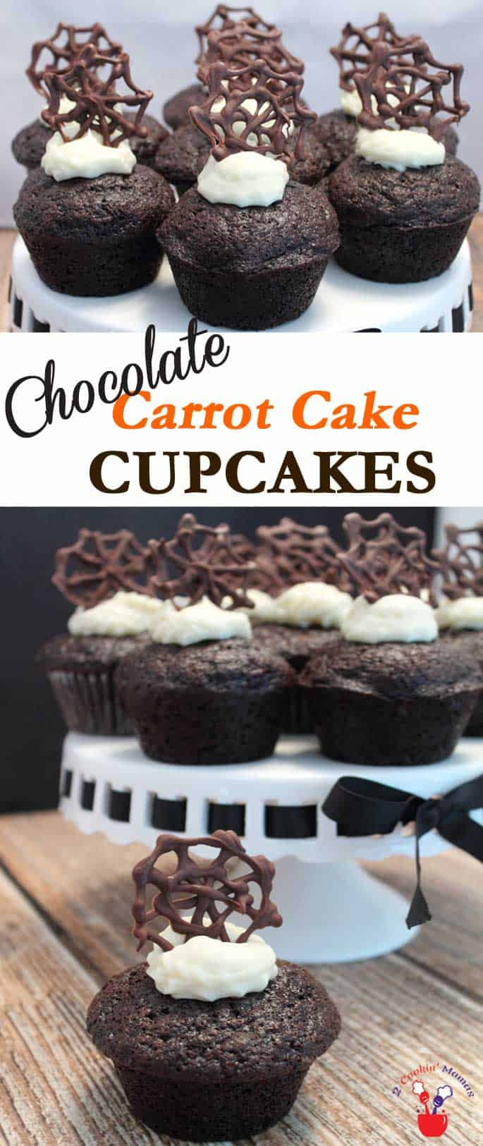 Chocolate Carrot Cupcakes | 2 Cookin Mamas These chocolate carrot cupcakes are a step up from carrot cake & great any time of the year but with our chocolate spider web they're perfect for Halloween. #recipe #dessert #cupcakes #chocolate