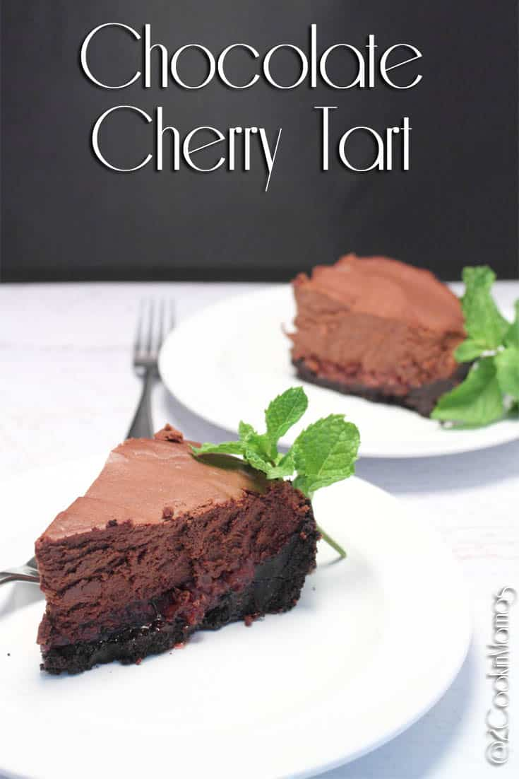Chocolate lovers can\'t get enough of this no-bake Chocolate Cherry Tart. A chocolaty cookie crust, cherries & rich chocolate mousse make it irresistible. #dessert #chocolate #chocolatemousse #chocolatetart #cherries