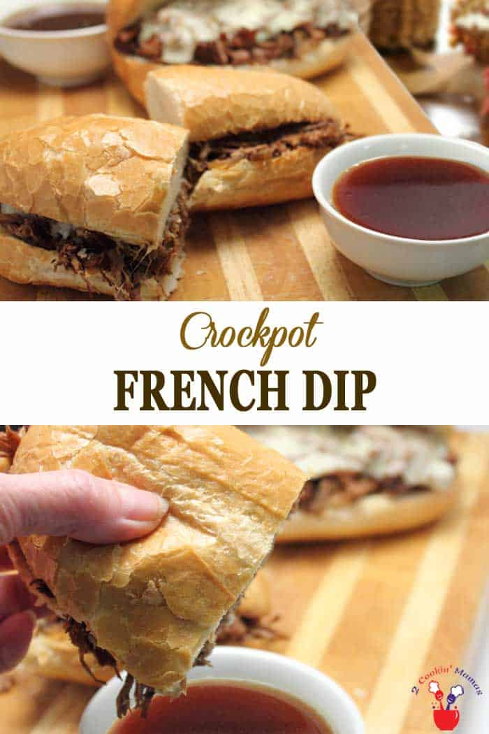 Crockpot French Dip takes little prep and makes the most delicious, tender beefy sandwiches. Pile high on a hard roll, top with cheese then dip. #appetizer #dip #beef #sandwiches #recipe #frenchdip