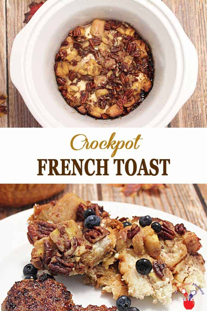 Crockpot French Toast | 2 Cookin Mamas Take the hassle out of breakfast! This Crockpot French Toast is so simple to make and oh so delicious to wake up to! Just coat French bread with cream cheese, toss with eggs & cinnamon mixture, top with bananas and crumbs, throw it in the pot and you're done. A hot breakfast that cooks while you sleep. #frenchtoast #crockpot #breakfast #recipe #bananas