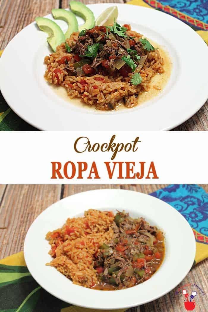 Crockpot Ropa Vieja | 2 Cookin Mamas Crockpot Ropa Vieja is a delicious Cuban beef stew, flavored with tomatoes, onions & peppers and cooked to perfection in the crockpot. It's the perfect easy weeknight dinner. #ropavieja #stew #Mexican #crockpot #dinner