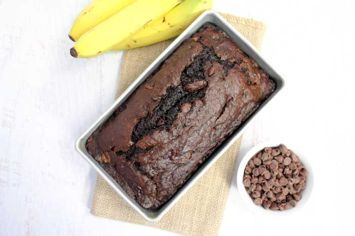 Double Chocolate Banana Bread in pan