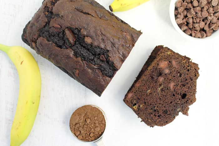 Double Chocolate Banana Bread sliced