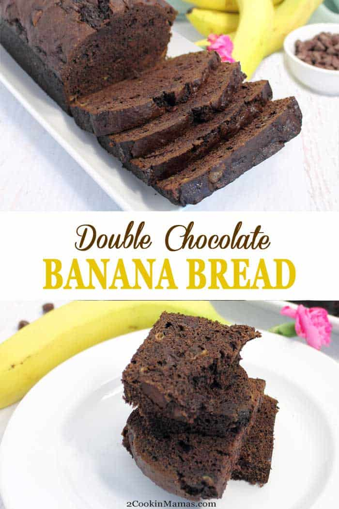 This Double Chocolate Banana Bread recipe takes banana bread up a notch by adding rich cocoa & chocolate chips. It's a treat for breakfast or dessert. #bananabread #quickbread #recipe #bananas #chocolate #chocolatechips #breakfast #dessert