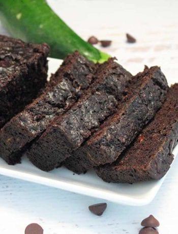 Double Chocolate Zucchini Bread sliced square | 2 Cookin Mamas