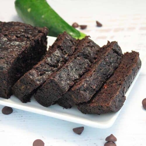 Double Chocolate Zucchini Bread sliced square | 2 Cookin Mamas
