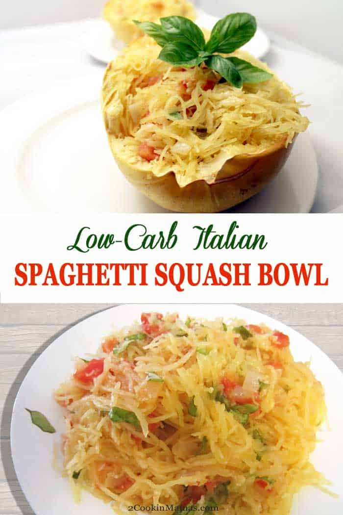 Italian Spaghetti Squash Bowl | 2 Cookin Mamas This Italian Spaghetti Squash Bowl is a healthy, low carb way to get your spaghetti fix! Baked spaghetti squash is tossed with a delicious tomato-basil sauce that's perfect as a side dish or as a meatless main meal. #sidedish #spaghettisquash #lowcarb #recipe #meatlessmainmeal