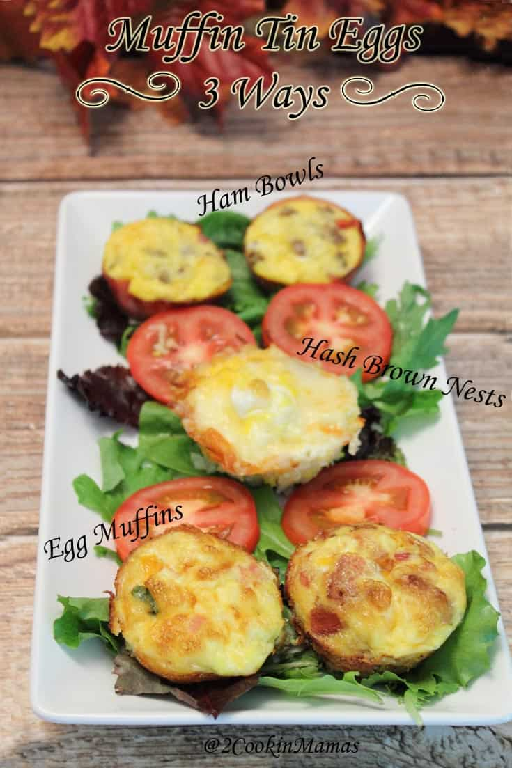 Muffins Tin Eggs are a quick & healthy breakfast for hectic mornings. Bake in muffin tin, freeze, brown bag it, reheat 1 minute & voila - a hot breakfast!