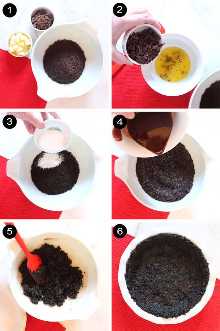 Prep steps for chocolate cookie crust.