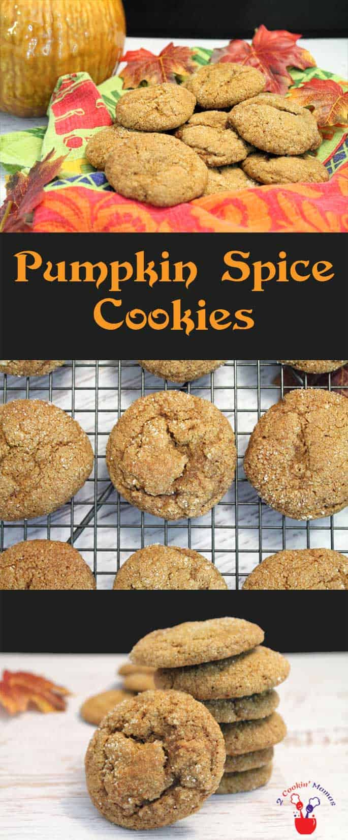 Pumpkin-Spice-Cookies | 2 Cookin Mamas A soft & chewy cookie that's a cross between gingerbread and everything you love about pumpkin pie. It's like a mouthful of fall! #recipe