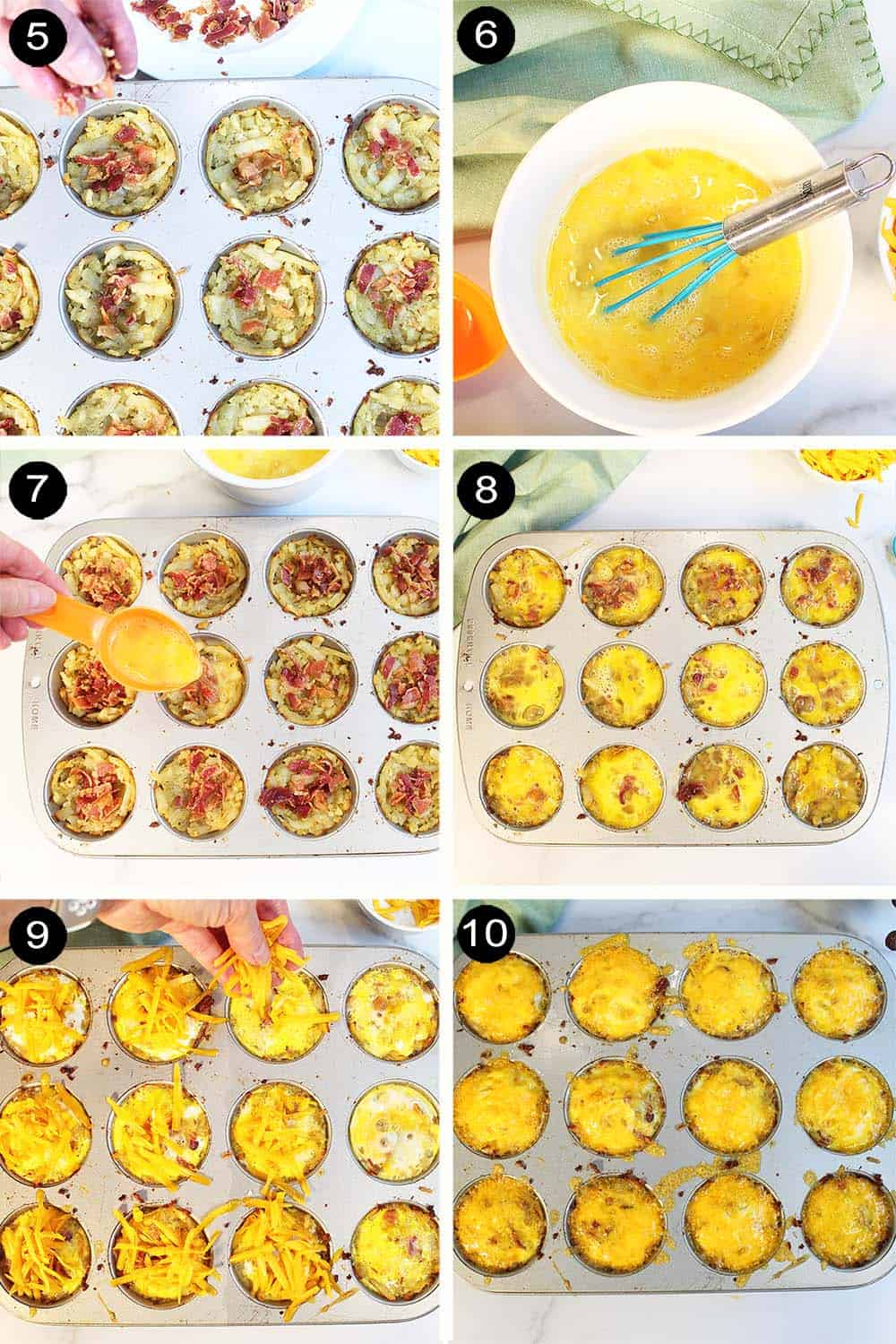 Steps 5-10 assembling and baking egg muffins.