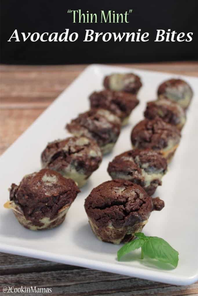 Thin Mint Avocado Brownie Bites | 2CookinMamas - Essentials Oils and Greens added to these easy to make healthy avocado brownies makes these a win-win dessert!