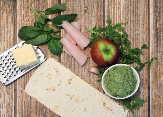 Turkey Apple Pesto Flatbread prep | 2 Cookin Mamas