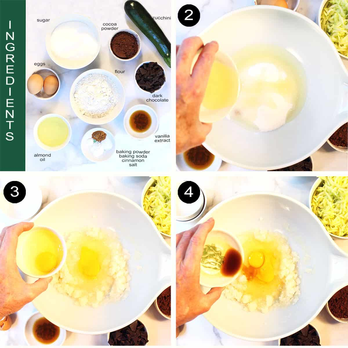 Step by step directions for wet ingredients.