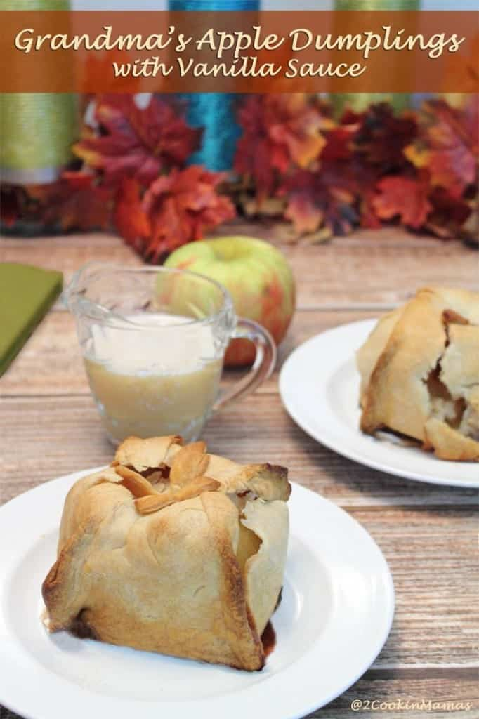 Apple Dumplings main | 2CookinMamas - No one made these apple dumplings better than Grandma. Warm apples & cinnamon wrapped in a flaky crust & covered with an out of this world hot vanilla sauce.