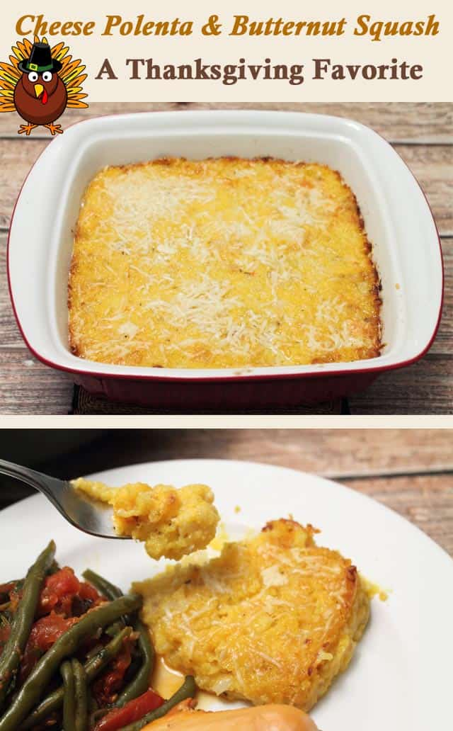 Cheese Polenta and Butternut Squash Casserole | 2CookinMamas - Creamy, cheesy goodness makes a great Thanksgiving side. Save time with frozen squash and pre-made polenta. #recipe #sidedish #butternutsquash