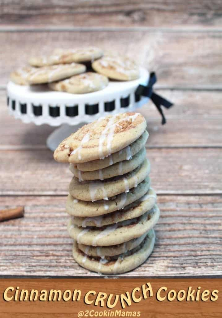 Cinnamon Crunch Cookies pin 1 | 2CookinMamas - All your favorite cinnamon flavors rolled into one crunchy cookie. Think cinnamon buns & Cinnamon Toast Crunch cereal.