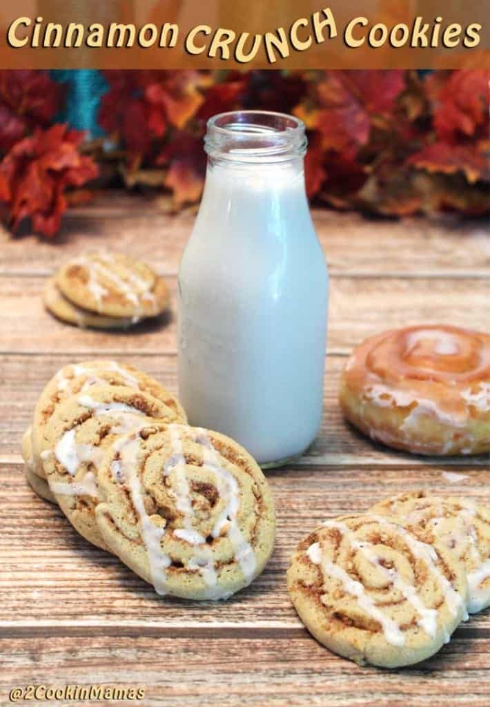 Cinnamon Crunch Cookies pin | 2CookinMamas - All your favorite cinnamon flavors rolled into one crunchy cookie. Think cinnamon buns & Cinnamon Toast Crunch cereal.