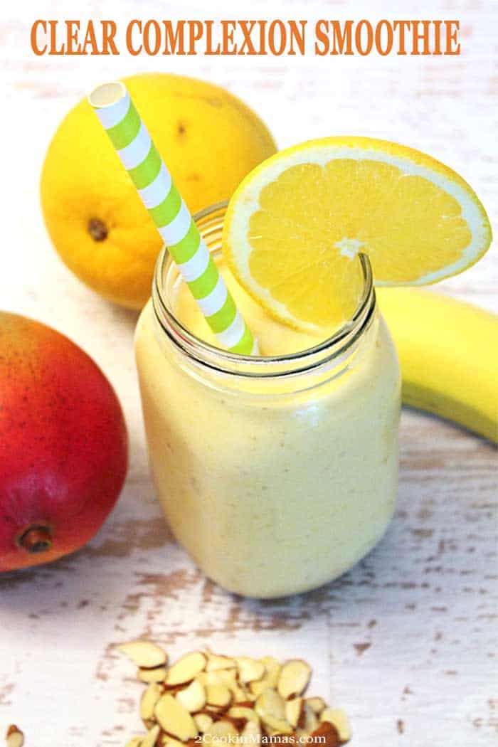 Clear Complexion Smoothie   2 Cookin Mamas An easy Clear Complexion Smoothie that keeps you healthy and looking your best. A mix of banana, mango, flaxseed oil, yogurt and almond butter make this good-for-you smoothie taste great too! A review of the e-cloth cleansing facial mitt is also included! #ad #recipe #smoothie #healthy #breakfast #yogurt #flaxseedoil