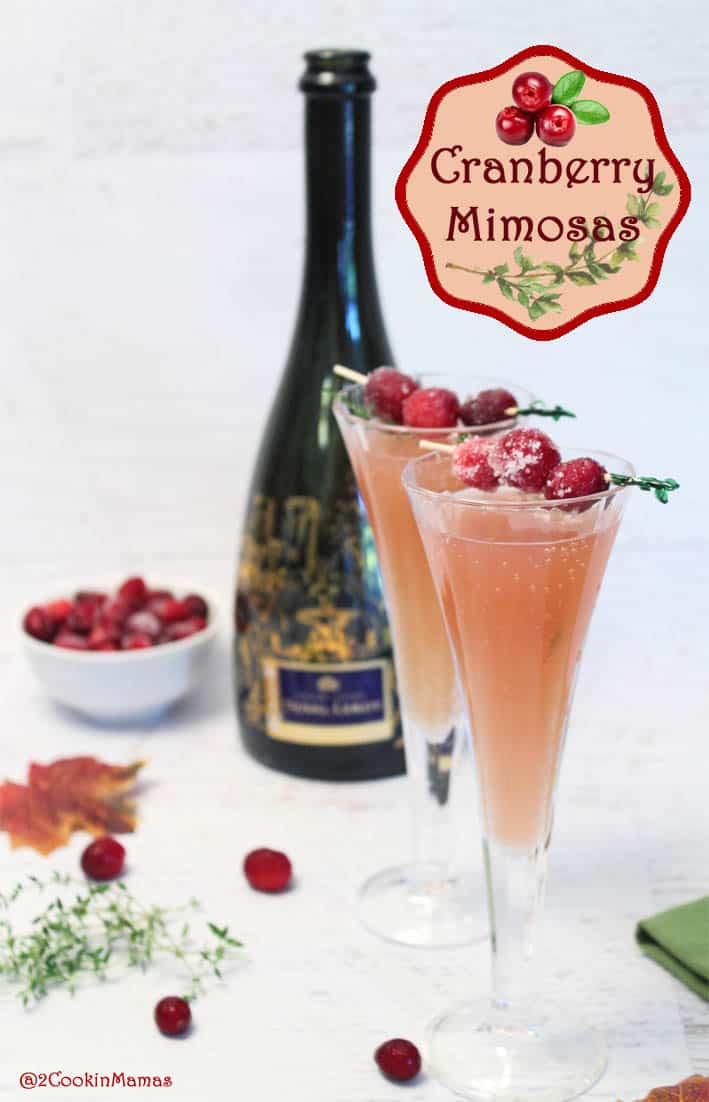 Cranberry Mimosas pin | 2CookinMamas - a cocktail for the holidays. Champagne with the tart flavors of cranberries and the sweetness of orange.