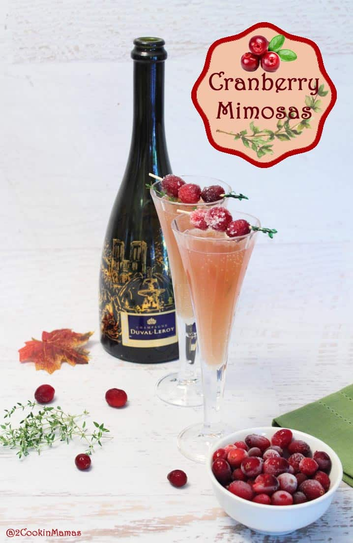 Cranberry Mimosas main | 2CookinMamas - a cocktail for the holidays. Champagne with the tart flavors of cranberries and the sweetness of orange.