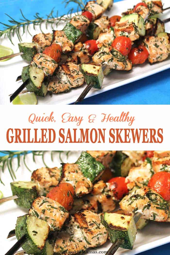 Grilled Salmon Skewers | 2 Cookin Mamas Turn up the heat, on your grill that is! These delicious grilled salmon skewers are like a complete meal on a stick. Fresh salmon, cherry tomatoes and zucchini tossed in a seasoned vinaigrette then grilled. Healthy, quick & with little to no cleanup. #salmon #grilling #dinner #healthydinner #recipe #salmonskewers