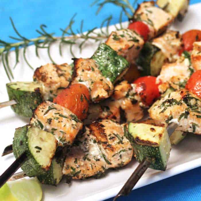 Grilled Salmon Skewers square | 2 Cookin Mamas