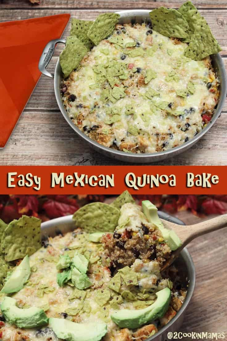 A quick, healthy all-in-one pan Mexican Quinoa Bake full of all the flavors you love - black beans, chicken, quinoa, salsa and cheese. All in 30 minutes! #quinoa #casserole #onepan #dinner #chicken #recipe #30minuterecipe Mexican