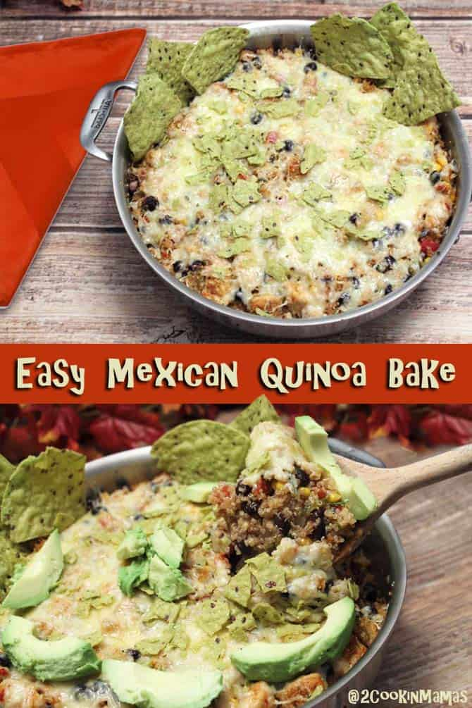 Mexican Quinoa Bake| 2CookinMamas - An easy one pot dinner with all the flavors of Mexican that you love. Great for busy weeknights and pot lucks.