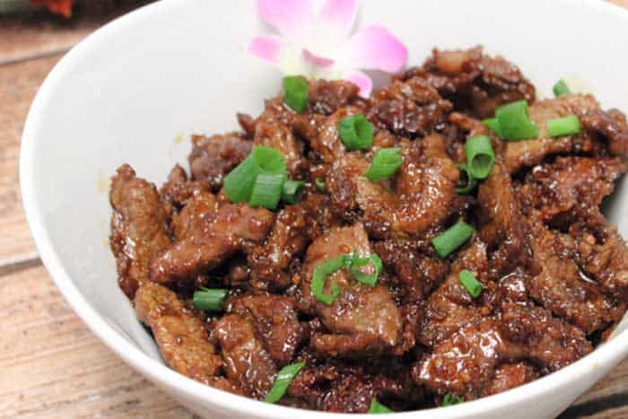 Copycat PF Changs Mongolian Beef in bowl closeup | 2 Cookin Mamas
