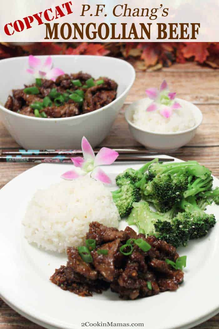 PF Changs Copycat Mongolian Beef pin | 2 Cookin Mamas Love PF Changs Mongolian Beef? This easy copycat recipe tastes just like the original - tasty crispy beef served in a deliciously flavored sweet soy sauce. And it can be on the table in about 30 minutes! #beef #asian #dinner #recipe #easyrecipe