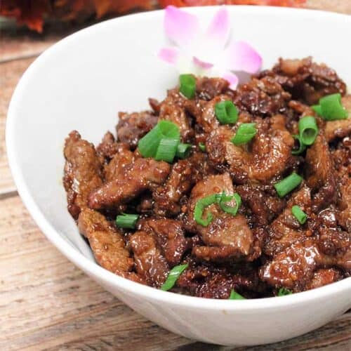 Copycat PF Changs Mongolian Beef closeup square | 2 Cookin Mamas