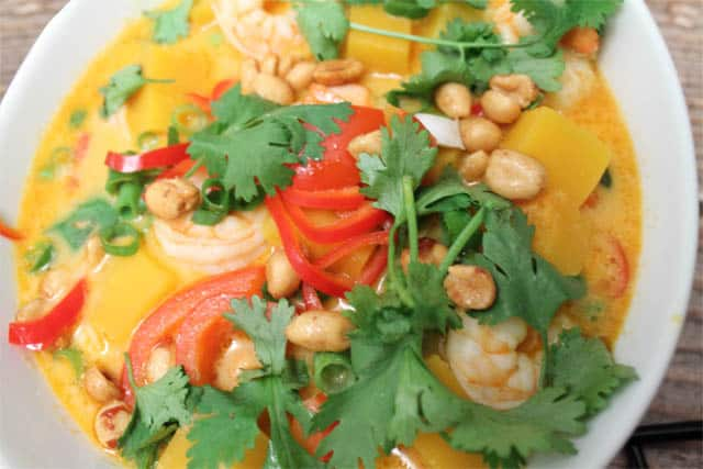 Shrimp Panang Curry closeup|2CookinMamas