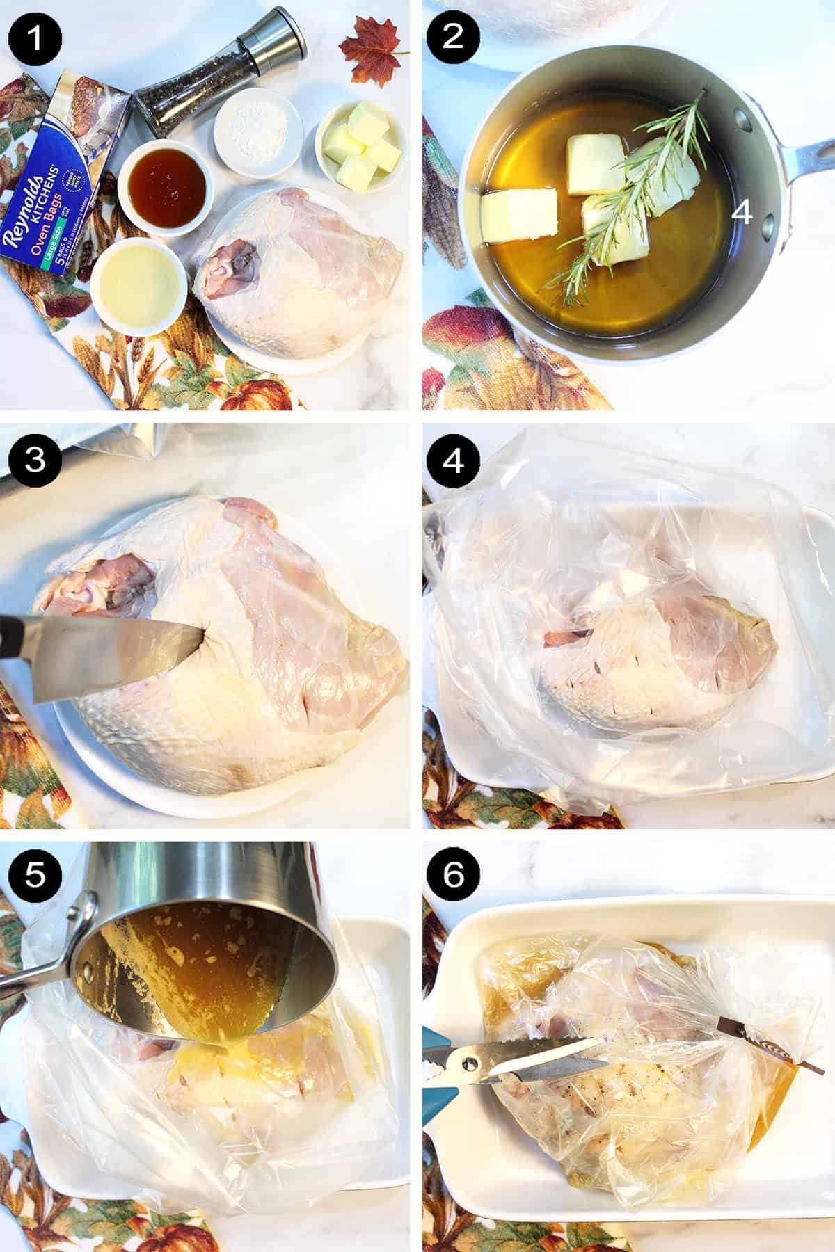 Steps to make honey marinade and prepping breast.