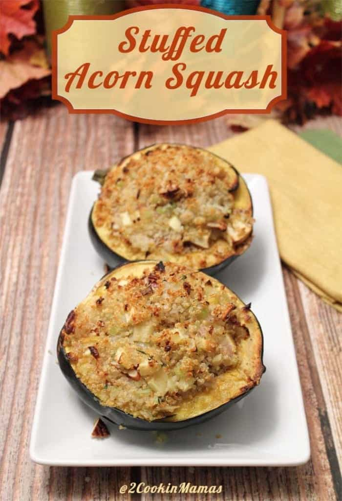 Stuffed Acorn Squash main|2CookinMamas - the perfect accompaniment to a holiday meal. Rich with butter, mapple syrup and seasoned quinoa that tastes delicious and gluten-free too!