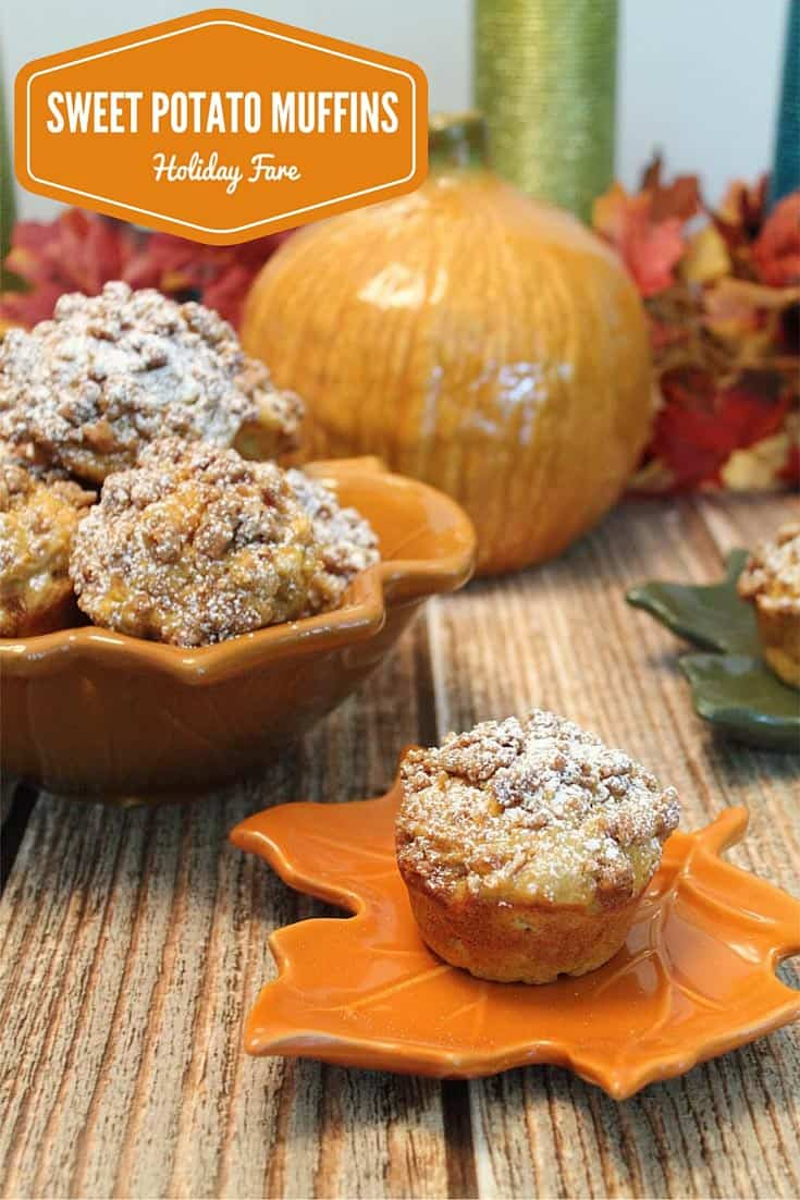 The perfect baked treat for fall! Our easy Sweet Potato Muffins are moist & full of pumpkin pie flavor then topped with crumbs. Perfect for Thanksgiving! #recipe #muffins #sweetpotatoes #fallrecipe #breakfast