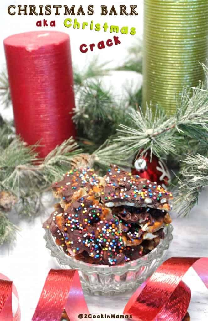 Christmas Bark aka Christmas Crack | 2CookinMamas - What's not to like about chocolate, caramel and pretzels. But watch out, it's easy to make & so addictive!