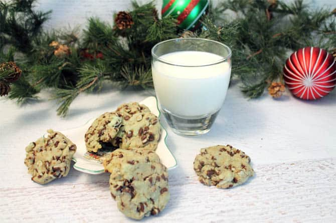 Mint Chip Cookies with milk|2CookinMamas