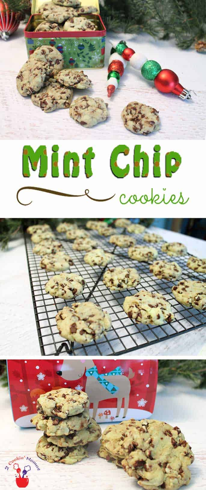 Mint Chip Cookies are easy to make & delicious too! Start with a cake mix, add liquid ingredients then stir in Andes mint chips and wait for the yums! #cookies #Christmascookies #recipe #mint