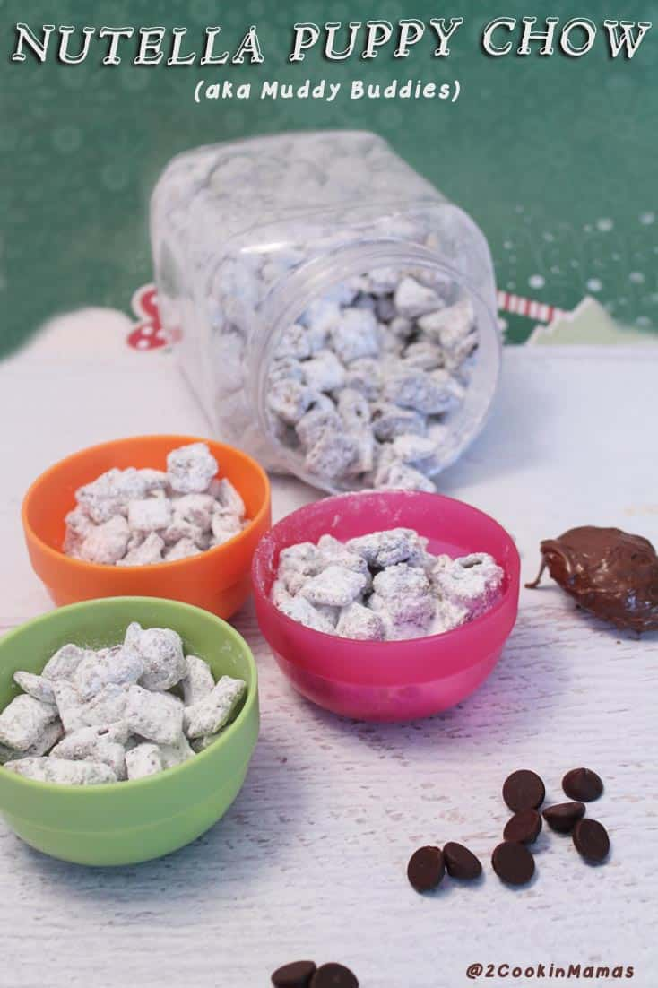 Beware! This Nutella Puppy chow is a delicious, highly additive snack for the whole family. I mean what's better than Chex covered with chocolate & nutella? #snack #kidssnack #puppychow #Nutella #muddybuddies #chex #chocolate #recipe