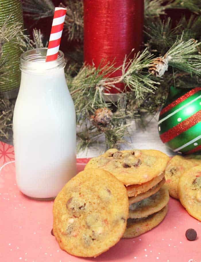 Peppermint Chocolate Chip Cookies and milk | 2 Cookin Mamas