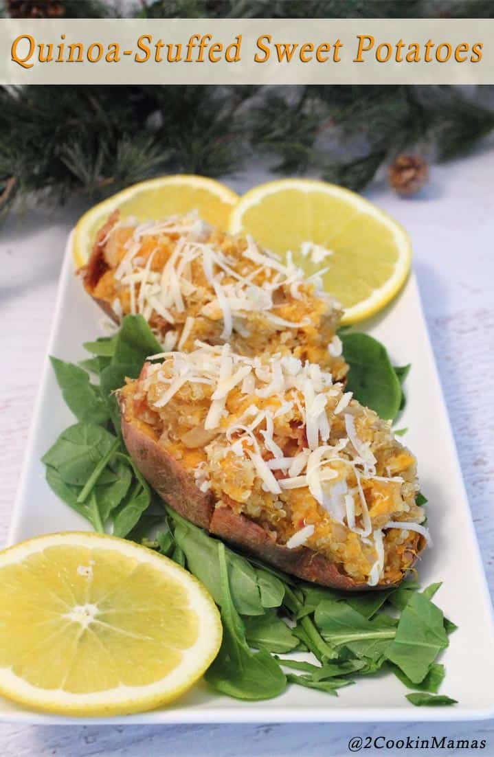 Quinoa Stuffed Sweet Potatoes pin 2CookinMamas - A healthy & delicious quick meal. Just cook & stuff a sweet potato with protein rich quinoa and flavor it with maple syrup. Yum!