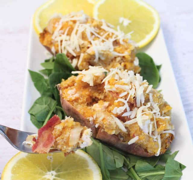 Quinoa Stuffed Sweet Potatoes take a bite 2CookinMamas